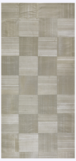 Squares of silver-gray silk backed with paper mounted with weave texture alternating horizontally and vertically.