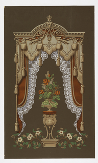 Paper coated with dark brown on both sides. Center design of griffon tripod supporting double vase containing grapes, red rose bouquet and foliage. Above, arched tongue-and-dart molding from which fall double draperies of red and gray, fringed, and lacy curtains.