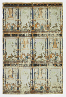 Two repeating panels of hunting scenes, two men with bows and dog chasing stag; each panel separated by pilaster on pedestal, decorative border.