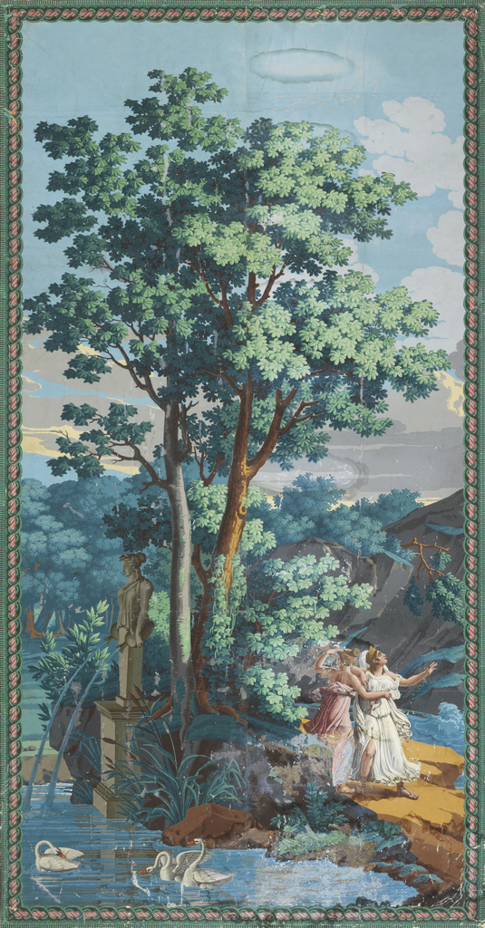 One panel, comprised of two widths of scenic wallpaper. The panels depict Calypso standing on a rocky outcrop, next to a Caryatid pouring water from vases into a pond. Three swans swim in the pond. Set within a lush landscape. The scenic panel is framed with a passementerie or fancy gimp border.