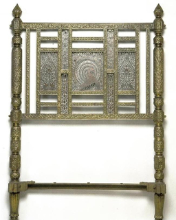 inlaid steel and brass  on wood with two upright balusters and three panel headboard