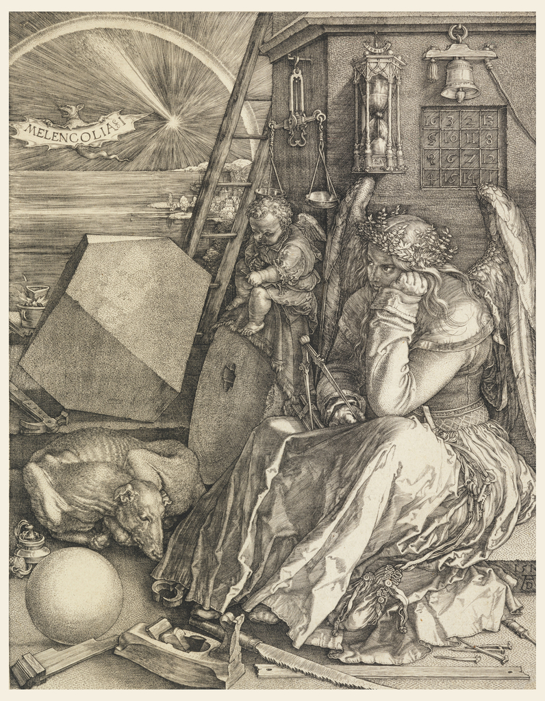 "The winged figure of a woman, dressed in a long robe, is seated at right; she rests her head on her left hand and holds a compass in her right. A winged genius is seated beside her, writing on a tablet. Behind them is a square tower that displays a scale, an hourglass, a bell and a magic square. The foreground is littered with various instruments related to carpentry and construction: a saw, a plane, a hammer and nails and lengths of wood. At left, a dog sleeps curled between a sphere and a polyhedron. In the distance, in front of a sunset and rainbow over the sea, a bat flies, the word ""Melencolia I"" engraved across its outstreched wings. Monogram of Dürer and date 1541, lower right."