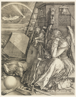 """The winged figure of a woman, dressed in a long robe, is seated at right; she rests her head on her left hand and holds a compass in her right. A winged genius is seated beside her, writing on a tablet. Behind them is a square tower that displays a scale, an hourglass, a bell and a magic square. The foreground is littered with various instruments related to carpentry and construction: a saw, a plane, a hammer and nails and lengths of wood. At left, a dog sleeps curled between a sphere and a polyhedron. In the distance, in front of a sunset and rainbow over the sea, a bat flies, the word """"Melencolia I"""" engraved across its outstreched wings. Monogram of Dürer and date 1541, lower right."""
