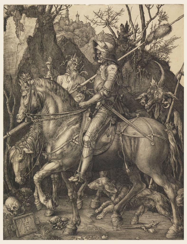 A knight in armor, and bearing arms, rides horseback, facing left, in profile. Death rides beside him, showing him an hourglass. A devil follows, his claws extended toward the knight. Rocky landscape in background. A dog and a lizard in foreground.  At lower left, monogram of Dürer, and date of 1513 on tablet resting against a stone on which a skull is placed.