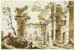 Horizontal rectangle.  Architectural ruins, open to the sky, used as setting for the Nativity group, seen near center, middleground.  Rays of light rise from the figure of the Child.  Shepherd kneels in foreground.  Woman with bundle on her head, at right.