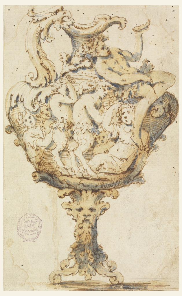 At left, handle in shape of bird's head, foliated. Scrolls and a mask form the foot. Satyrs, maenads, and children make up the body. Young Bacchus, leaning on shoulder, raises a shell with his left hand.