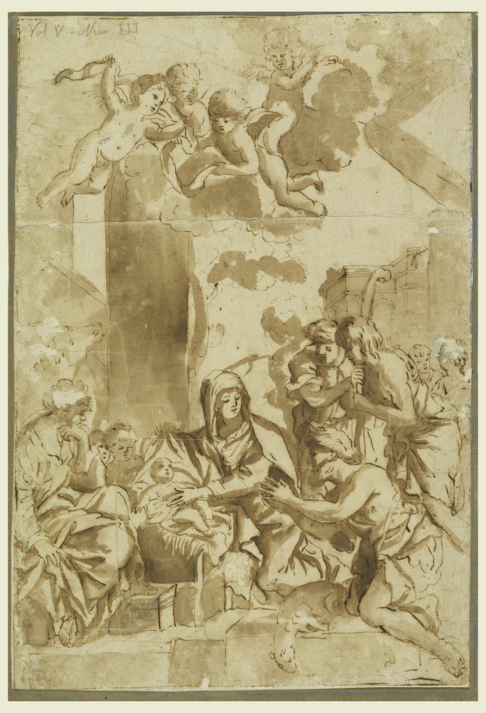 Virgin touches Child with left hand as figures look on. Shepherds visible on right, with cherubim overhead flying in the clouds. Architectural background at right.