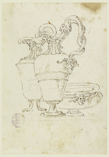 The three vessels form a group.  A pitcher with a handle, composed of two snakes, stands in front and partially covers the others.  Both pitchers face left. The bowl is low. Parts of the design are lightly sketched.