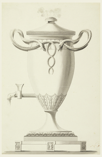 Urn-shaped. The spout is at left with fluid streaming from it. Smoke rises from the holes in the knob of the cover. Two pairs of entwined snakes form the two handles.