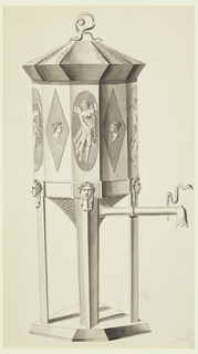 Side view; spout is at right. Body and cover have twelve corners and tapered bottom.  Sides of body are alternately decorated with a void with a genius and lozenge with a woman's head. A snake sits atop the cover. Stand formed by four angular poles.