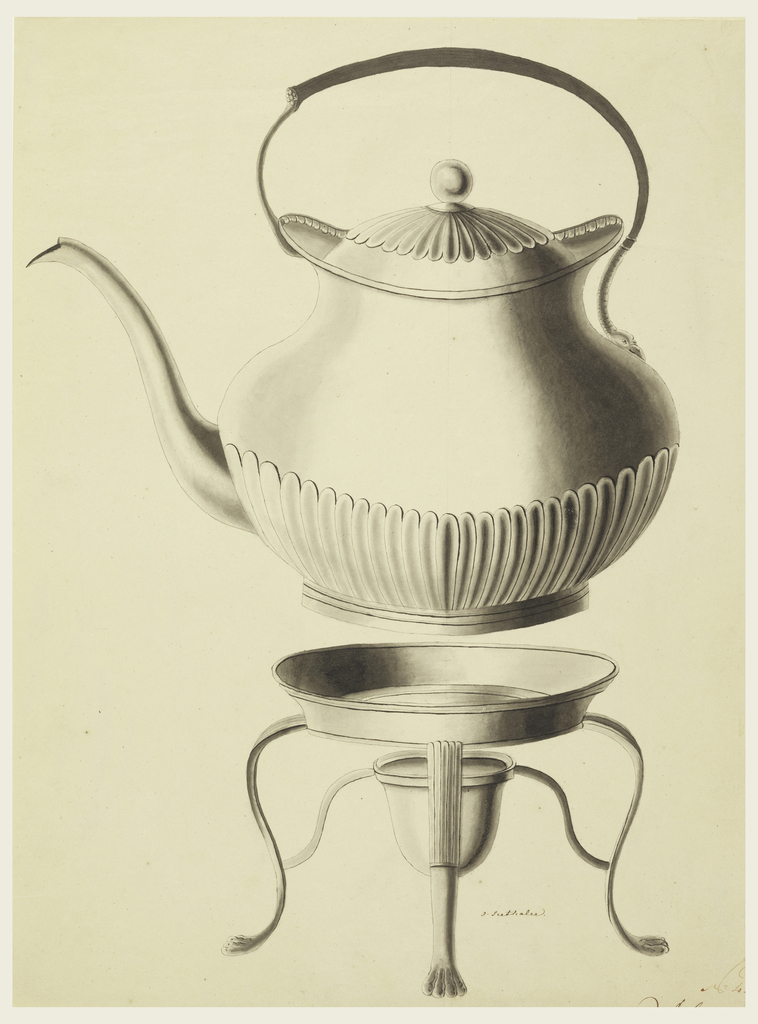 Kettle shown from side view; spout at left. Upper and lower parts of body surrounded with calyxes; leaf band along inner rim of the upper section. One end of asymmetrical handle is fastened to body lower than the other, ending in a snake's forepart. Stand with a receptacle for spirits.