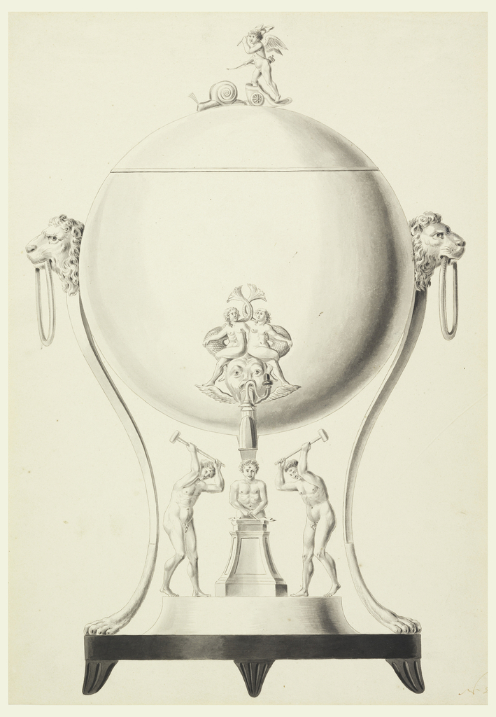 On circular plinth with four feet (three visible), a sphere, top section of which serves as cover and topped by Cupid in a chariot drawn by a snail.  Supported by curved poles with lion feet and lion heads with wings.  Spout starts from a dolphin's head which has a human face and which tops two bodies upon which two girls sit. Underneath are three blacksmiths around an anvil which would have been intended as a receptacle for spirits.
