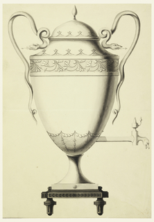 Side view with the spout at right. On a square plinth on knobs. Egg-shaped urn with cover. Two snakes form the handle.
