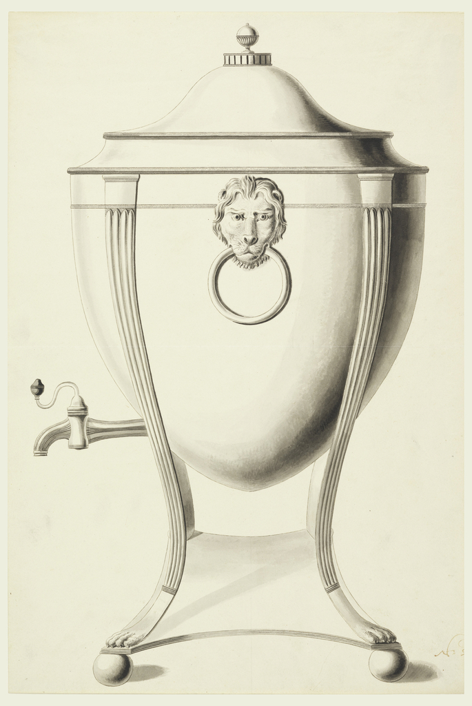 Shown from side with spout at left.  A spherical quadrangle as a base is supported by beads.  Four fluted gaines with lion feet hold the body which is shaped like part of an egg and shows a lion mask with ring. The cover topped by a knob.