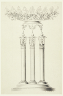 Chimeras standing upon three columns support the base of a bowl with scalloped top edge. It is surrounded by grape vines.