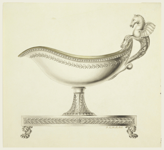 The sauceboat is made of gilded silver.  The bowl is oval shaped, decorated with a small medallion under the lip, a leaf pattern and narrower border under the rim.  The handle consists of a winged sea horse.  The support is decorated with palm leaves, and the base, which rests on lions' feet, has leaf motifs along the sides.