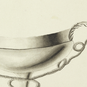At top, a cup on a base terminating in lion's feet and floral medallions.  The bowl is decorated with grapevine, and encircled about the brim with a stylized leaf motif repeating in alternation.  At bottom, a shallow vessel on a stem, whose handles are composed of snakes, issuing from the acanthus leaves and loosely coiled about the stem.