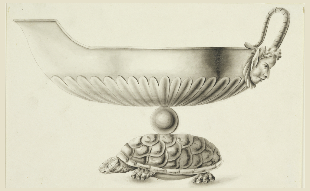 Side view; boat supported by a globe and a turtle. The handle consists of two horns of a satyr mask. Spout is turned left.