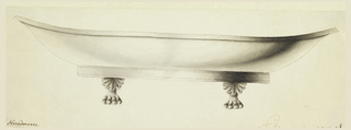 Elongated bowl with clawed feet with palmettes.