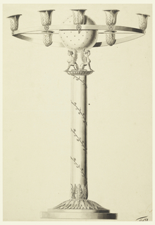A small grapevine is wound around a column upon which two sphinxes support a starred sphere. Fastened to it by spokes is a ring supporting light sockets of which seven are shown.