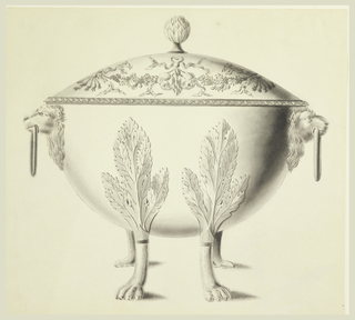 Bowl with cover ornamented with flower and vegetal forms, with an artichoke for finial.  Handles are composed of lions' heads holding rings in mouths. Feet are animal paws issuing from large leaves.