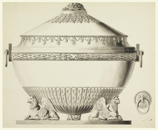 Vessel is banded with leaf and classical arabesque motifs. The finial is in the form of a turtle. Tureen rests on three griffins on a platform.