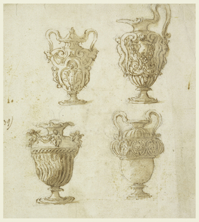 Top row, an urn with two handles, showing nude figures standing in calices in panels formed by scrolls; a pitcher with hand at right, depicting scrolls and nude figures on body with frontal figure holding a festoon. Bottom row, vase with curved flutes at bottom, with figures sitting upon shoulder; two-handled vase with undecorated body, crest frieze surrounding upper section.