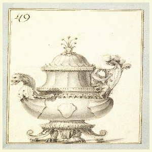 Teapot with lion's feet; bowl in shape of ship with dragon head as spout on left and putto playing harp as handle. Crown-like elements circulating top with flowers with long stems as finial.