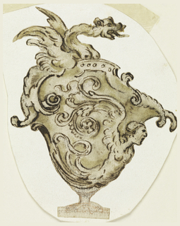 Vase with harpy as lower half of body, waves and curls; topped by dragon with breasts and extended tongue.