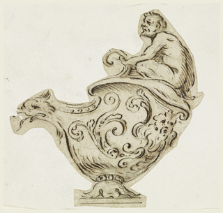 Vase decorated with curls and waves and dragon as spout topped with kneeling man.