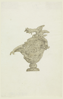 A dragon serves as handle. The half-figure of a harpy and scrolls decorate body.