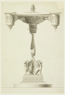Two seated griffins flank the fluted shaft, topped by acanthus capital supporting the fuel bowl, decorated with classical palm and arabesque motifs. Two arms hold cups for the wicks, likewise decorated.