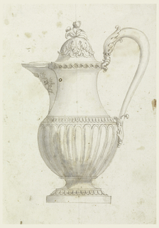 Intended to be executed in metal. Shown in profile with handle at right. Lower section of spout is the coat of arms of Pope Gregory XVI. Lower section of body is fluted. Lid shows calyx upside down. Plant form as finial.