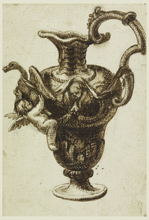 The handle is at right. At left below the spout at the shoulder is a swan, supporting a winged putto. A ribbon passes along the neck, under the wing, then above a cherub head, then to the handle.