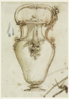 Seen from the front, with loop having a horizontal direction. A mask below the spout. The alternative suggestions refer to the loop and have or omit a female gaine and suggest different kinds of scrolls. Verso: shows geometrical figures with explanations in pen.