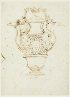 Recto: The lower part of body of the bottle is shaped like a bowl. On its rim stand two swans, to whose necks the handle is fastened. Alternative suggestions are made for the pose of the necks. A crowned escutcheon is shown in the center of the bottle. Verso: above, a staircase, five sections of entablatures, with measurements, a plan of decorative motif, formed by an equilateral cross, and circles. Lower section at right, six projects, two sketches for frames or parts of frames, some with alternative suggestions.