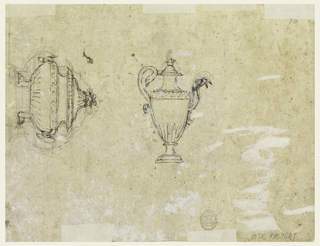 Recto: A woman with a cloth is sitting upon a dolphin; beside it are two mermaids and two small boys. The round basin is sketched. Verso: a pitcher with a cover, a handle in the shape of a maze; the spout is formed by upper part of an eagle. At left, in vertical direction, the tureen with two lion feet, two masks with rings as handles, and a fruit basket as finial.