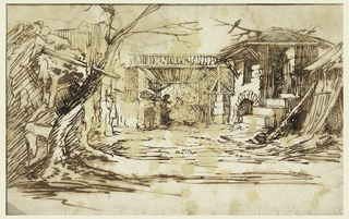 Design for a Christmas creche.  A courtyard with a building and a tree on the left and a building with a thatched roof on right.  In the center the Virgin and Child.