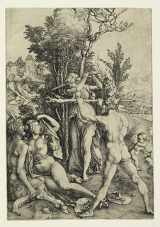 A nude woman is seated on the ground lower left, beside a satyr. She turns her head toward another woman, who stands, draped, menacing her with a large stick. The latter is blocked by a nude man standing, lower right. Town in the background.