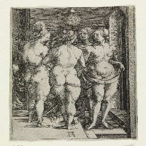 An interior with four nude women: one, with her back to the view, wears a laurel wreath crown; another, at left, is shown in profile, facing right; the two others are seen one behind the other, at right, facing the viewer. A demon at left.