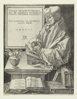 Erasmus is represented three-quarter length, standing, facing left. He stands before his desk, writing. Books on a ledge in foreground. In the background, left, a framed inscription (see Inscription).