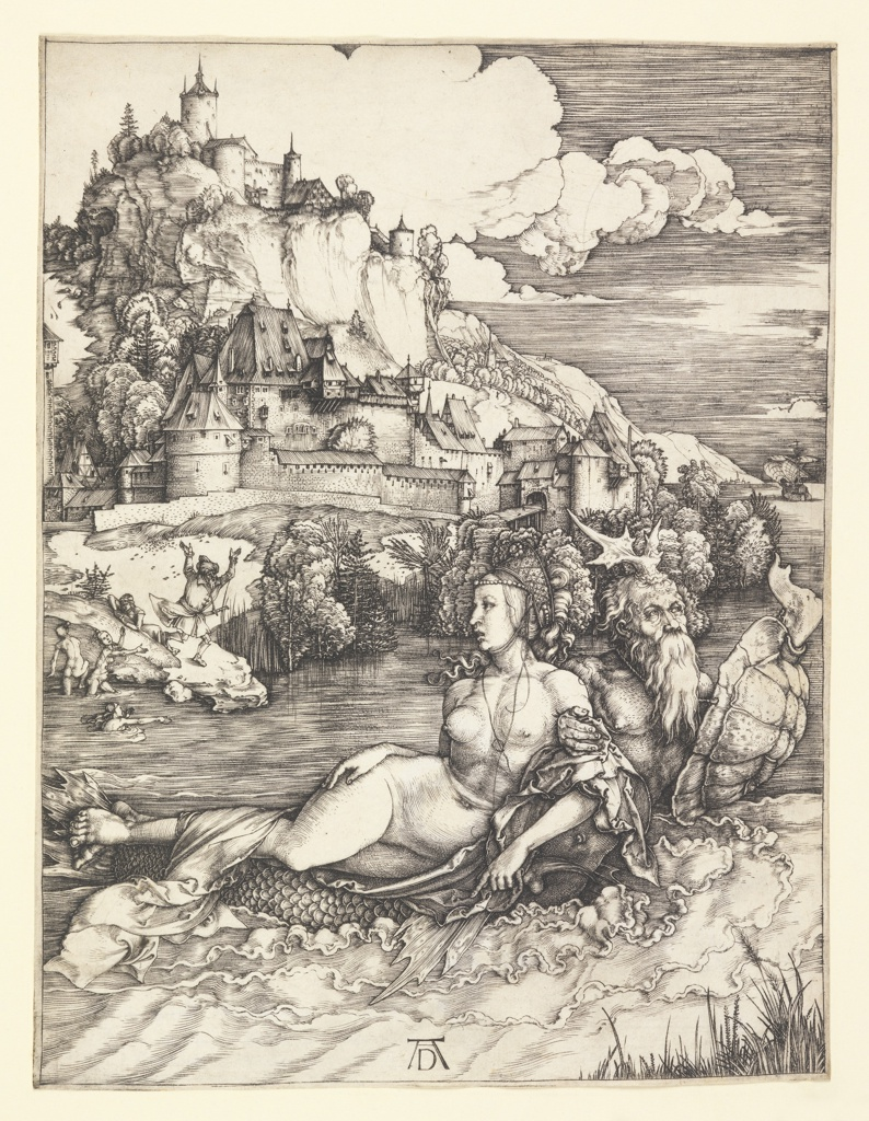 Set in a rocky landscape with a castle overlooking a bluff, a sea monster is seen in the foreground carrying off a nude woman on his back. Off the shore, left middle distance, three nude women frolic in the water, while two men are seen on the bank nearby, one trying to chase after the monster.