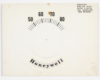 Design for regulator faceplate. Verso: clock face, with numbers in collage, 1 through 11, and a dot for 12.