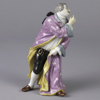 Leaning forward with right hand upraised and left foot advanced, the figure of a gesturing man dressed in a violet-flowered cloak lined with yellow and with turquoise collar and cuffs, white shirt, black knee-breeches, white hose and red-brown shoes. Black ribbon secures grey hair.