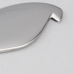 Flat stainless steel object with rounded edges and a pointed end for peeling.
