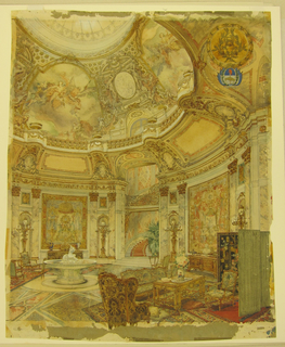An elegantly furnished circular salon interior with a baroque-style domed ceiling topped by a shallow cupula.  The dome drumb is decorated with illustionistic ceiling paintings after Tiepolo (based on the Tiepolo paintings in the Casa del Sole Gallery, Clerici Palace, Milan). The salon walls are decorated with large neoclassical tapestries flanked by Corinthian pilasters between which are niches containing tall candelabras terminating in glass globes painted with fleur-de-lis.  An elaborate marble flooring is covered on the right and left by Persian carpets upon which assorted furniture is placed. In the center background a stairway landing displays a large potted palm.