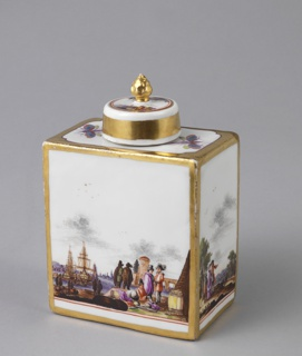 Rectangular, with short cylindrical neck. Sides decorated with landscapes and figures, including seaport and skating scenes. Narrow gold border. On top, two dragonflies. Cover, with two harbor views, gold knob handle and broad gold band.