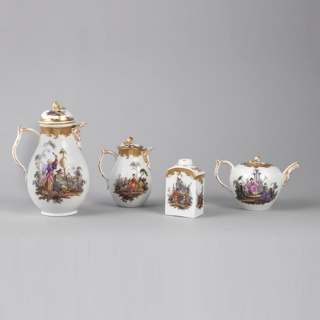 A white rounded teapot with very delicate spout and handle. Three figures and a fourth on a raised seat in an outdoor scene painted in overglaze. Thick border of gilt around the lid with a flower knob.