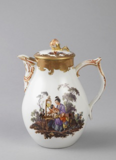 Pear-shaped, bracket lip, double-curved strap handle. Small flat cover with flower finial. Vignettes of Chinoiserie figures in landscape, with gilded and painted imbricated borders.