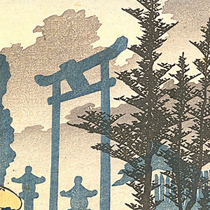 Scene, with heavy morning mist, of a group of travelers, one mounted, and one in a litter, passing the entrance to a Shinto temple. Other travelers, houses and trees dimly seen in mist and in distance.